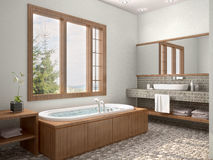 3d illustration of bathroom interior with window Royalty Free Stock Photography