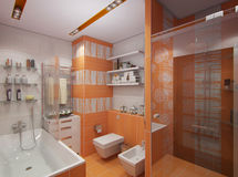 3D illustration of a bathroom in orange color Royalty Free Stock Images