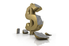 3d illustration of a battered Dollar Sign Stock Photography
