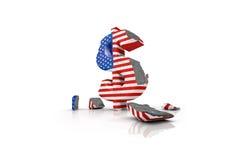 3d illustration of a battered Dollar Sign Stock Images