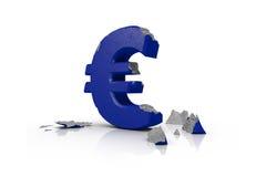 3d illustration of a battered Euro Sign Stock Images