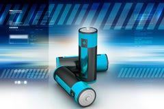 Batteries. 3d illustration of Batteries in color background Stock Image