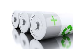 3d Close up of batteries with recycling symbol. 3d illustration. Batteries with recycling symbol. Eco energy concept. Isolated white backgroud Stock Photo