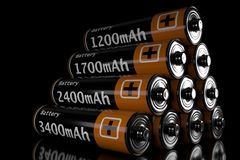 3d illustration of a battery. On a black background Stock Photo