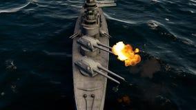 3d illustration of a battleship firing with heavy caliber guns.  stock illustration