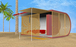 3D Illustration Beach Bungalow Royalty Free Stock Image