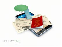 3d Illustration of Beach Summer Vacation travel, isolated white background.  Royalty Free Stock Images