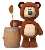 3d illustration bear with a barrel of honey. 3d illustration toy bear with a wooden spoon is preparing to eat a treat Stock Images