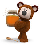 3d illustration bear with honey jar. 3d illustration a toy bear with a vessel of nectar Stock Photography