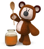 3d illustration bear with honey jar. 3d illustration a toy bear with a vessel of nectar Royalty Free Stock Photography