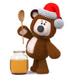 3d illustration bear with honey jar. 3d illustration a toy bear with a vessel of nectar stock photos