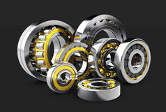 3d illustration of Bearing balls. isolated on black background. Stock Photography