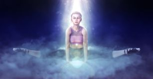 Beautiful girl doing yoga on fantasy clouds 3d illustration. 3D illustration beautiful girl doing yoga on fantasy clouds Royalty Free Stock Image