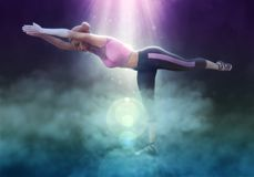 Beautiful girl doing yoga on fantasy clouds 3d illustration. 3D illustration beautiful girl doing yoga on fantasy clouds Stock Photo
