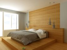 3D illustration of bed in large empty modern room Stock Image