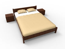 3D illustration of a bed. 3D rendered illustration of a bed isolated on a white background with shadows Stock Images