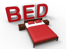 3D illustration of a bed. 3D rendered illustration of a bed isolated on a white background with shadows. Extruded bed text colored in red is placed behind the Royalty Free Stock Photos