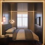 3d illustration of a bedroom interior design in a Scandinavian. 3d illustration of a bedroom interior design in a Scandinavian modern style. Render interior Stock Photo