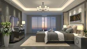 3D illustration bedroom Interior stock illustration