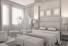 3D illustration of a bedroom in modern style without textures and materials Royalty Free Stock Photo