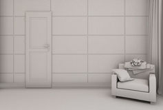 3D illustration of a bedroom in modern style without textures and materials Royalty Free Stock Image