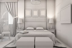 3D illustration of a bedroom in modern style without textures and materials Stock Photography