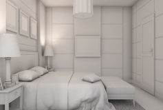 3D illustration of a bedroom in modern style without textures and materials Stock Images