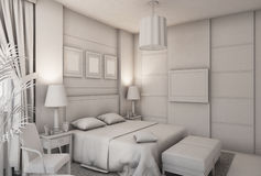 3D illustration of a bedroom in modern style without textures and materials Royalty Free Stock Photography