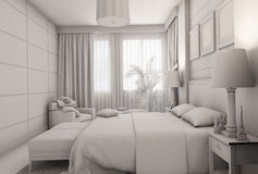 3D illustration of a bedroom in modern style without textures and materials Royalty Free Stock Photos