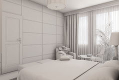 3D illustration of a bedroom in modern style without textures and materials Stock Photo