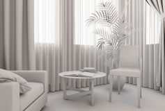 3D illustration of a bedroom in modern style without textures and materials Royalty Free Stock Images