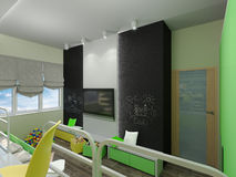 3D illustration of a bedroom for sibling in green and yellow col. 3D render of a bedroom for sibling in green and yellow colour Stock Photo