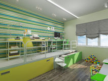 3D illustration of a bedroom for sibling in green and yellow col Royalty Free Stock Images