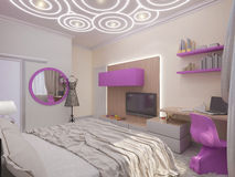 3D illustration of a bedroom for the young girl Stock Image