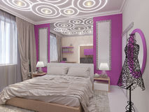 3D illustration of a bedroom for the young girl Stock Photography