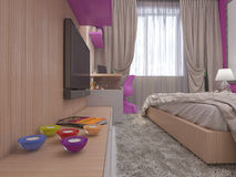 3D illustration of a bedroom for the young girl Royalty Free Stock Photography