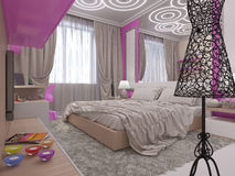 3D illustration of a bedroom for the young girl Royalty Free Stock Images
