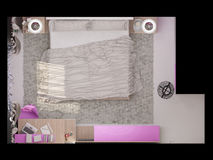 3D illustration of a bedroom for the young girl Royalty Free Stock Photo