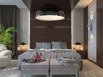 3d illustration of bedrooms in brown color Royalty Free Stock Photography