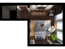 3d illustration of bedrooms in brown color Royalty Free Stock Images