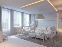 3d illustration of bedrooms in brown color Royalty Free Stock Photo