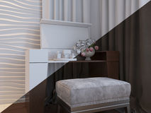 3d illustration of bedrooms in brown color Royalty Free Stock Photos