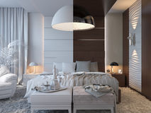 3d illustration of bedrooms in brown color Stock Photos