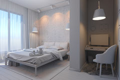 3d illustration of bedrooms in a Scandinavian style without mate Stock Image