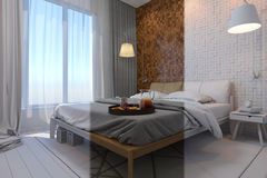 3d illustration of bedrooms in a Scandinavian style without mate Royalty Free Stock Image