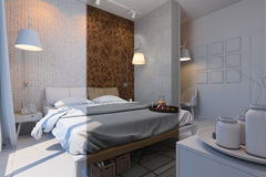 3d illustration of bedrooms in a Scandinavian style without mate Stock Photography
