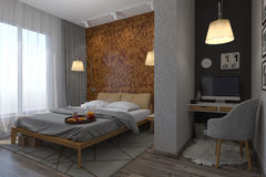 3d illustration of bedrooms in a Scandinavian style. 3d rendering of bedrooms in a Scandinavian style Stock Photography