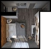 3d illustration of bedrooms in a Scandinavian style Stock Images