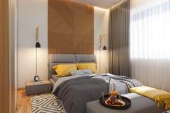 3d illustration, begrepp för sovruminredesign Visualization av inre i den skandinaviska arkitektoniska stilen stock illustrationer
