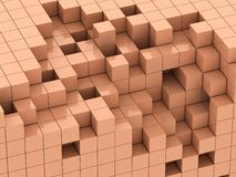 3d illustration of beige cubes Royalty Free Stock Photos